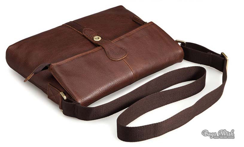 Messenger bag men leather, coffee shoulder bag for men - BagsWish
