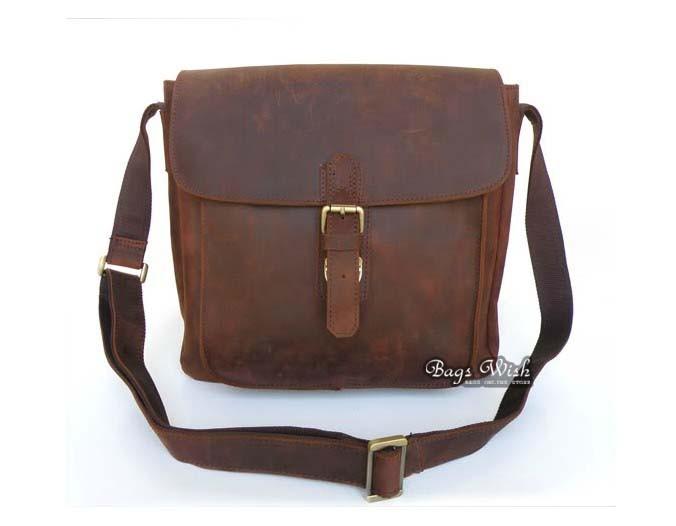 Brand new Mens messenger bag, brown mens over the shoulder bag - BagsWish BA68